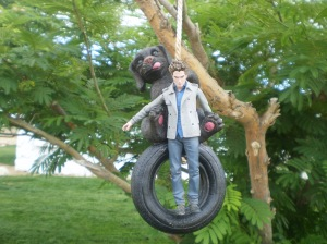 Edward in the... tire swing??