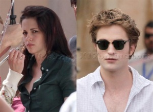 Kristen and Rob on New Moon set Italy