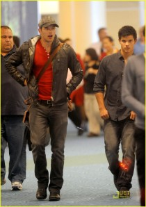 Kellan Lutz at Vancouver Airport with Taylor Lautner
