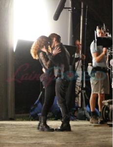 Victoria and Riley On Set Kiss