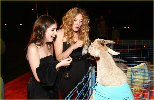Anna Kendrick and Rachelle Lefevre Feed A Goat