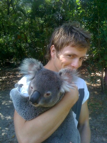 Charlie Bewley and a Koala